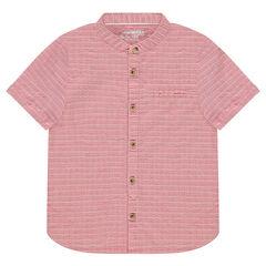 Chemise manches courtes en coton fantaisie col mao