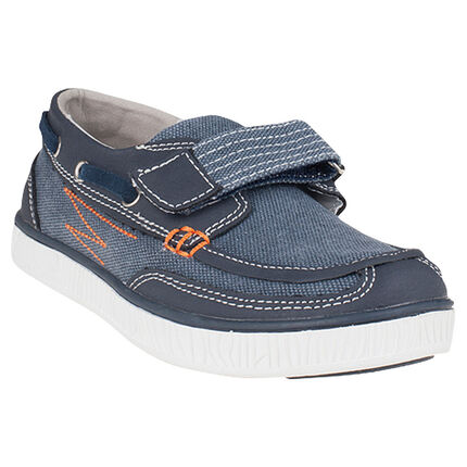 Baskets basses style bateau à scratch effet jeans