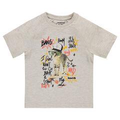 Tee-shirt manches courtes avec chat et inscriptions printés