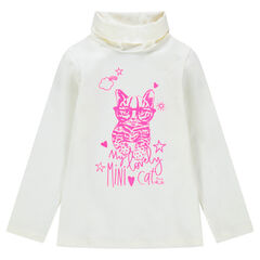Sous-pull col roulé avec chat rose printé