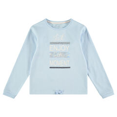Junior - Sweat en molleton uni avec message printé et sequins