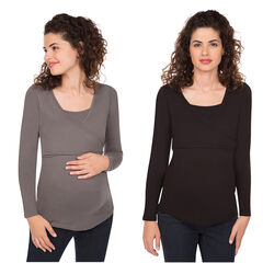 Lot de 2 tee-shirts manches longues de grossesse et d'allaitement unis
