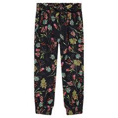 Pantalon fluide à fleurs all-over