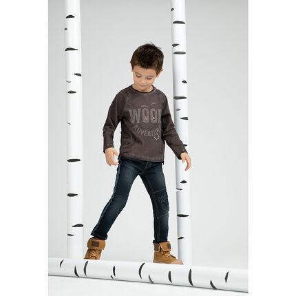 Tee-shirt manches longues avec inscription contrastée et rivets fantaisie