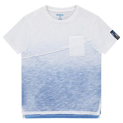 Junior - Tee-shirt en jersey slub effet tie and dye avec découpe et poche