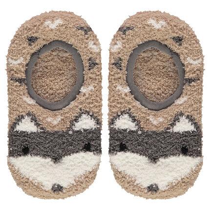 Chaussettes basses forme chaussons en bouclette avec picots antidérapants motif loup