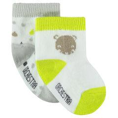 Lot de 2 paires de chaussettes avec motifs fantaisie et touches de fluo