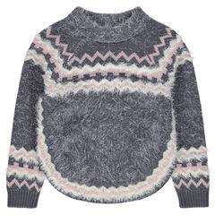 Pull en jacquard en tricot poil esprit poncho