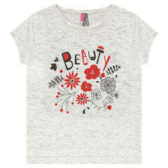 Tee-shirt manches courtes en jersey jaspé avec print floral pailleté
