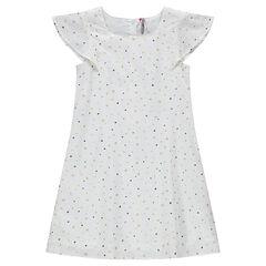 Junior - Robe manches courtes print étoiles sur coton façonné