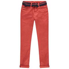 Junior - Jean orange surteint avec ceinture ajustable