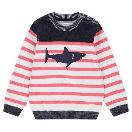 Pull en tricot effet marinière avec print requin