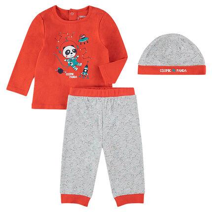 Pyjama 3 pièces avec tee-shirt print panda, bonnet et pantalon imprimés all-over
