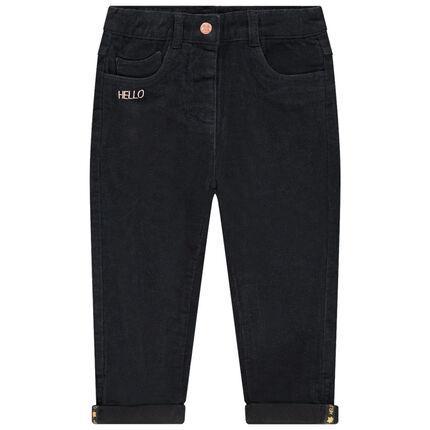 Pantalon en velours doublé jersey avec inscriptions brodées
