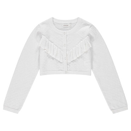 Junior - Gilet en tricot fantaisie avec volant