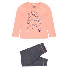 Pyjama avec tee-shirt printé et pantalon en molleton gris chiné