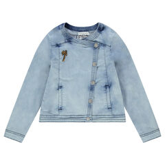 Junior - Veste en jeans surteint avec palmier en sequins et inscription dos