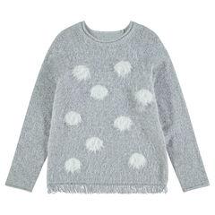 Junior - Pull en tricot poil avec pois contrastés