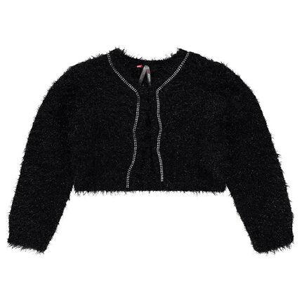 Gilet court en tricot poil effet brillant avec strass