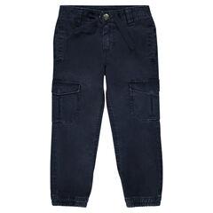 Pantalon en twill effet used avec poches