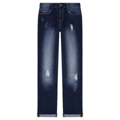 Junior - Jeans effet used et crinkle avec usures