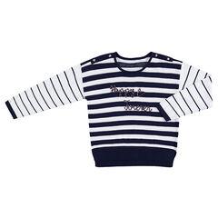 Junior - Pull en tricot esprit marinière avec inscription en cordelette