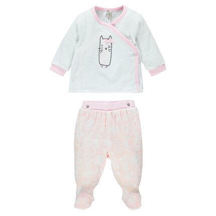 Pyjama naissance en velours avec patch chat