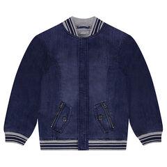 db49e62e4635a Junior - Blouson en jeans style teddy avec poches zippées