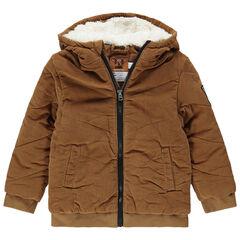 Doudoune en velours à capuche doublée sherpa