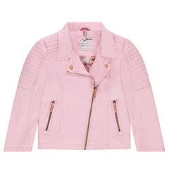 Perfecto en simili cuir rose avec poches zippées