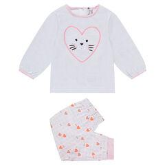 Pyjama en jersey avec coeur brodé et bas imprimé coeurs