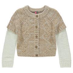 Gilet en tricot chiné effet double manche