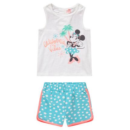 Ensemble avec débardeur print Minnie Disney et short à pois