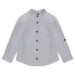 Chemise en coton fantaisie à col mao