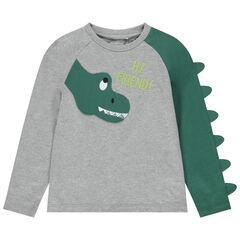 T-shirt manches longues motif dinosaure avec crête en relief