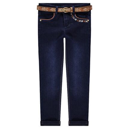Jeans coupe slim effet used avec ceinture amovible motif ethnique
