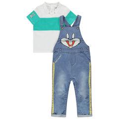 Ensemble avec salopette en jean et polo motif Bugs Bunny Looney Tunes