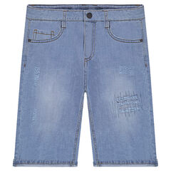 Junior - Bermuda en jeans effet used