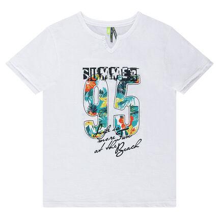 Junior - Tee-shirt manches courtes en jersey avec inscription printée et imprimé végétal