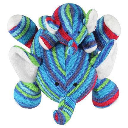 Peluches éléphants petit et grand en tricot rayé