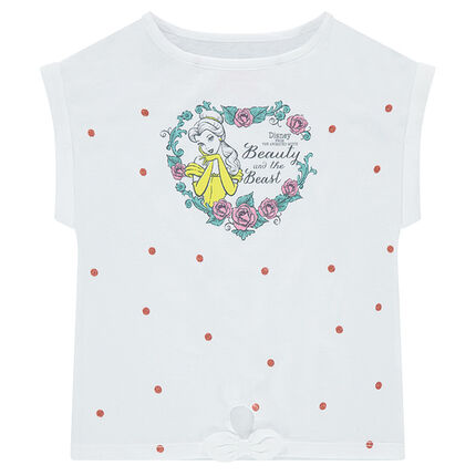 Tee-shirt manches courtes en jersey forme boîte ©Disney avec print Belle