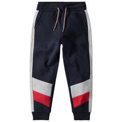 Pantalon de jogging en molleton avec bandes contrastées