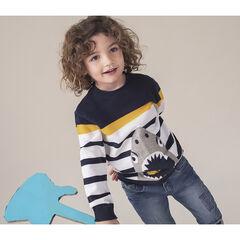 Pull en tricot à rayures et requin en jacquard