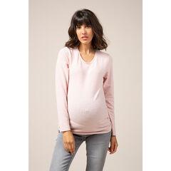 Pull de grossesse en tricot fin rose pâle
