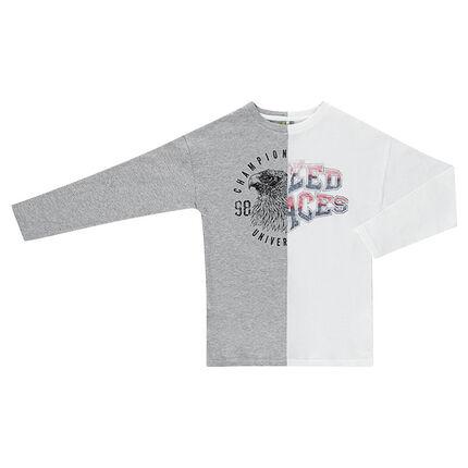 Junior - Tee-shirt manches longues bicolore en jersey avec motif printé