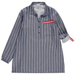 Junior - Tunique manches longues rayée forme chemise et touches de rouge