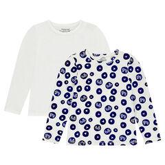 Junior - Lot de 2 tee-shirts manches longues en jersey imprimé all-over / uni