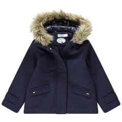 Manteau drap de laine doublé sherpa