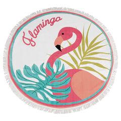 Serviette de plage ronde avec flamant rose et franges