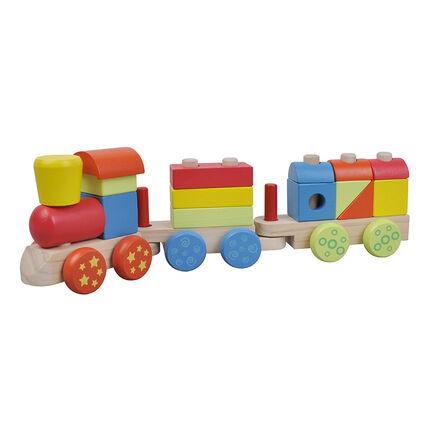Train en bois - Multicouleur